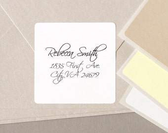 "cursive FANCY elegant font return address label stickers modern minimalist personalized square 20 medium 2"" labels plain white cream tan"