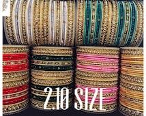Elegance Range 2.10 size - Gold, Metal & Fabric | Indian bracelet | Chura | Metal bangles | Bollywood bangles | Elegance