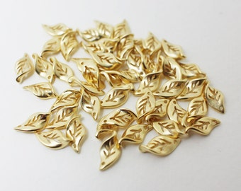 P0416/Anti-tarnished Matte Gold Plating Over Brass/Twisted Leaf Charm/5x11mm/10pcs