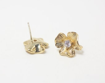 E0009/Anti-tarnished Gold Plating Over Brass+Sterling Silver Post/Flower Earrings+Cubic/12x12mm/2pcs