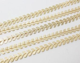 N0016/Anti-Tarnished Gold Plating Over Brass/Fishbone Chain/5x2mm/1yard