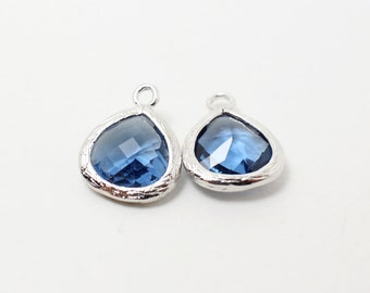 G002218/Montana/Rhodium plated over brass/Small teardrop faceted glass Pendant/11x13mm/2pcs