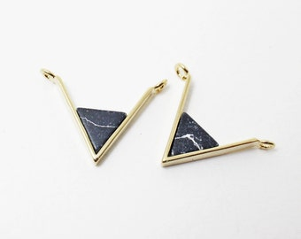 P0297/Anti-Tarnished Gold Plating Over Brass + Marble Stone/Marble Chevron Pendant Connector/20x 11mm/2pcs