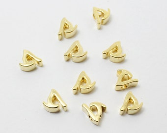 P0384/Anti-Tarnished Gold Plating Over Brass/Alphabet Script Initial Charm - S/5mm/2pcs