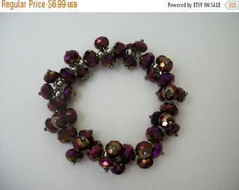 ON SALE Vintage Sparkling Faceted Beads Chunky Bracelet S # 359