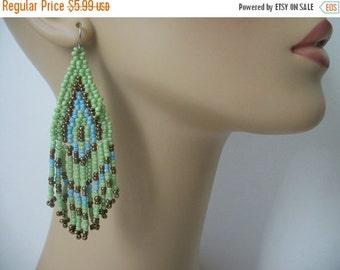 ON SALE Vintage Tribal Seed Beaded Dangle Earrings 521