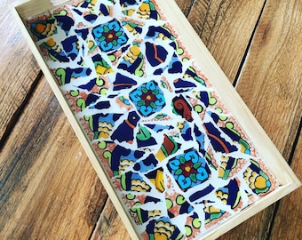 Mosaic Flower Tile Rustic Tray, Decorative Blue, Yellow and Orange Talavera Mexican tile  6.5 inches x 12.5 inches