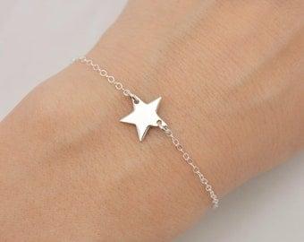 Sterling Silver Star Bracelet, Lucky Star Bracelet, Star Charm, Best Friend Gift for Her 0380