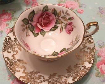Red Rose and Gold Vintage Teacup - Rosina Queens Tea Cup and Saucer Set - English Teacup Set