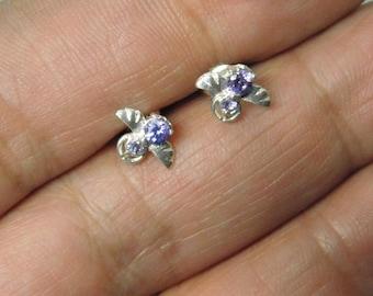 Vintage Unused Sterling Silver Amethyst Earrings