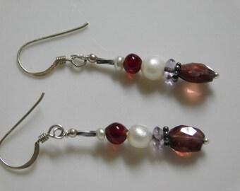 Vintage Sterling Silver Natural Garnet Pearl Earrings