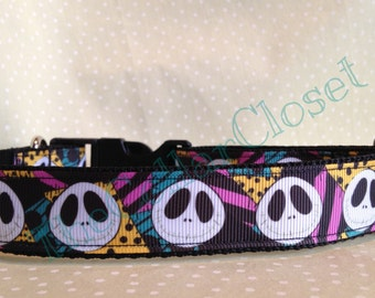 Jack Skellington Nightmare Before Christmas Patchwork Unofficial Dog Collar