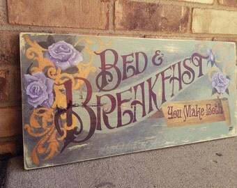 Vintage Victorian Bed & Breakfast sign!! Completely free-handed! Reclaimed Pine. Antique. Wood sign. Sage. Lavender. Gold. Burgundy.