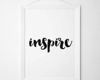 Inspire Print, Inspire Poster, Inspire Printable, Inspirational Wall Art, Nursery Decor, Dream Big, Digital Art, Scandinavian Design, Cute
