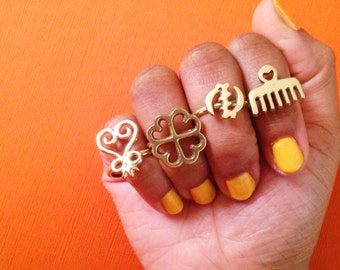 Adinkra African Symbol Rings // Adinkra Rings, Gold Symbol Ring, African Jewelry, Ethnic Jewelry, Brass Jewelry, Statement Ring, Afrocentric