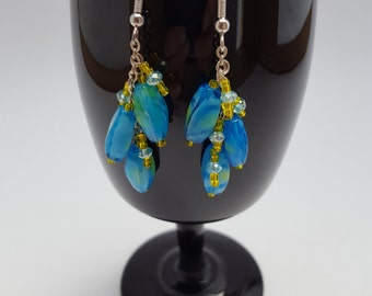 13026E Turquoise and Yellow Lamp Work and Glass Earrings