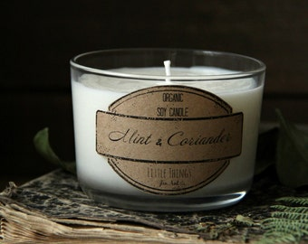 Soy Candle - Mint & Coriander - Organic Soy Wax Scented Candle - 7 oz.