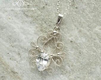 Sterling Silver Filigree CZ Pendant and Chain, Silver Filigree Pendant, Filigree Wedding Pendant, Bridal Pendant, Cubic Zirconia Pendant
