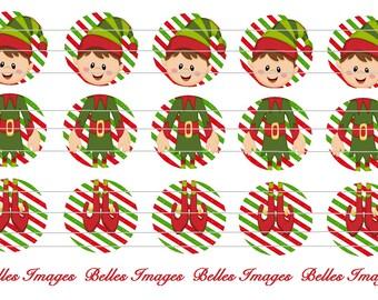 Christmas Elf Boy Bottle Cap Images 3 Piece Ornaments 1 inch Stickers