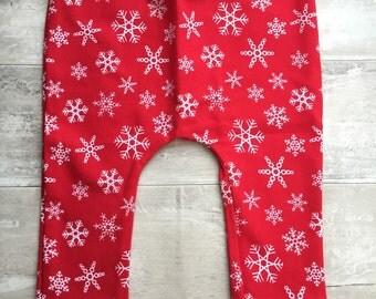 Red Snowflake organic baby leggings by RBLeggings
