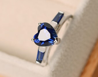 Sapphire ring, heart cut sapphire, engagement ring
