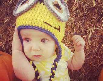 Minion Inspired Winter Hat with Ear Flaps and Braids