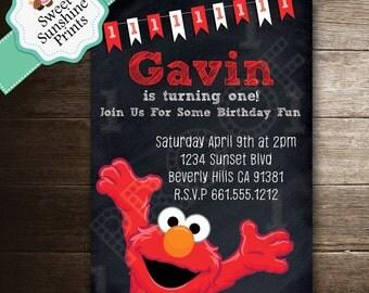 Sesame Street Invitation, Elmo Invitation, Elmo, Sesame Street, Second Birthday, 2nd Birthday, Printable Invitation, First Birthday, 1st