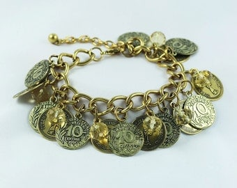 Coin Bracelet, Coin Jewelry, Gold Coin Bracelet, Gold Bracelet, Gypsy Bracelet, Gift For Her, Womens Jewelry
