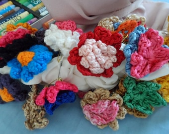 sets of 6 crochet flower hair elastics-brooches-ribbons of your choice