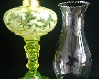 Vaseline Glass Three Face Pattern Glass Oil Lamp Made in the USA