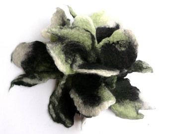 Flower felt brooch felted brooch wool felt flower brooch green white black gift nunofelt  felt jewelry felt brooches felted flower  OOAK