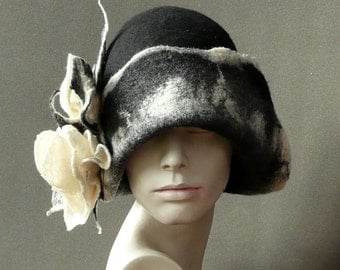 Black Felt hat Felted Hat Cloche Hat Fapper 1920 Hat Art  Gray Hat Cloche Victorian 1920's  Wool Formal hat black hat Women's hat