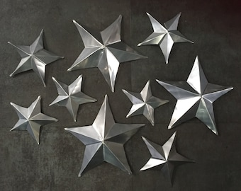 Upcycled Aluminum Can Stars - Set of 9 (Uncolored and Mixed Sizes)