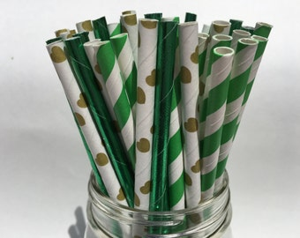 Emerald City, Assorted Paper Straws, Paper Straws, Wizard of Oz Theme, Party Decorations, Birthday Party, Green Theme, Wizard of Oz, 25