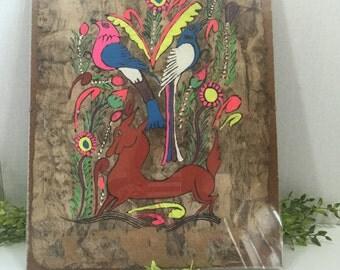Folk Art Vintage Tree Bark Painting Vibrant
