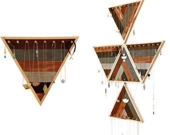 Triangle Jewelry Display / Stripes - Jewelry or Keys Storage, Wood Wall Hanging, Modular Design