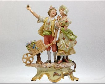 Antique Art Nouveau German Aelteste Volkstedter Porcelain Women Men Figurine