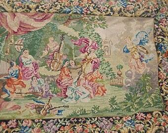 Vintage French Ed Robinson Greek Goddiess Petit Point Tapestry Purse Handbag