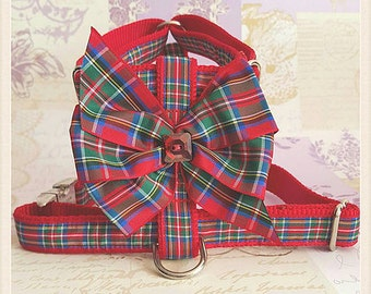 Tartan bow dog harness