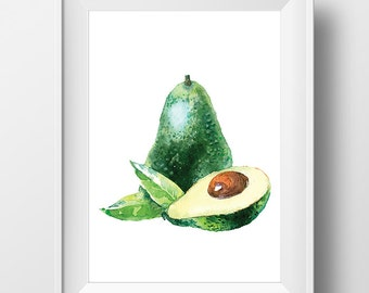 Watercolor Avocado Art, Watercolor Avocado Print, Watercolor Fruit Poster, Fruit Print, Watercolor Kitchen Art, Kitchen Decor, Kitchen Print