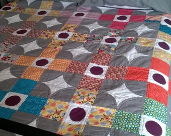 Don't Have a Grey Day Patchwork Quilt