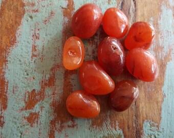Carnelian Medium Tumbled Stones, Natural Stones, Jewelry Supplies, Semi Precious Stones, Healing Gemstone, Mystical Crystals