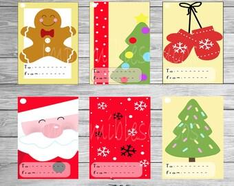 CHRISTMAS GIFT TAG Printable, Christmas Tree, Santa Claus