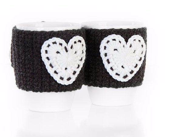 Christmas gift, Anthracite white hearts Crochet mug cozy, crochet cup warmer, mug cozy, cup cozy, mug warmer,  tea cup cozy, tea mug cozy