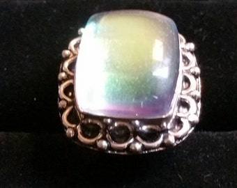 Rainbow topaz gemstone ring