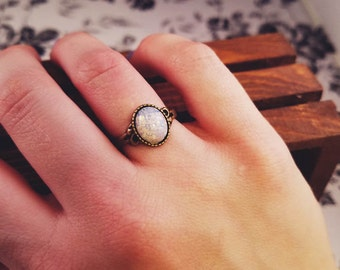 Antique Bronze White Opal Ring