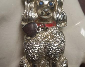 Dog Brooch, Poodle Brooch, Vintage Dog Pin, Vintage Poodle Pin, French Poodle Brooch