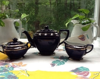 """Sale!! Gorgeous Cobalt Blue HALL """"HOLLYWOOD"""" Teapot With Sugar Bowl AND Creamer"""