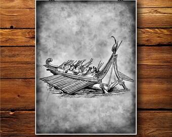 Vikings Print, Ship poster, Boat Illustration, Vintage Decor BW487