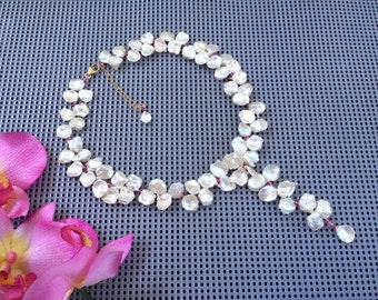 Natural Glowing Creamy Ivory Fresh Water Rose Petal Keshi Pearl Y- Necklace with Faceted Pink Quartz Accents, Bridal Necklace